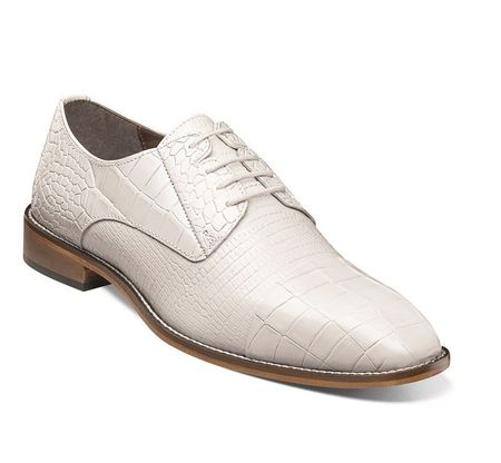Stacy Adams Shoes White Gator Cap Toe 25321-100 IS