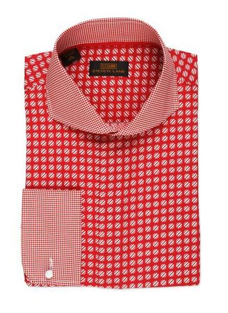 Steven Land Red Dot Pattern Collar Cotton Dress Shirt DA523 - click to enlarge