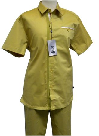Stacy Adams Mustard Cotton Casual Two Piece Walking Suit 9598 Size 2XL, 3XL