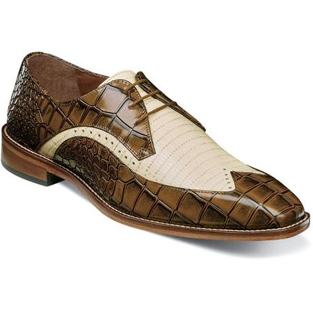 Stacy Adams Mustard Tan Alligator Print Wingtip Spring 25271-702