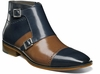 Stacy Adams Navy/Tan Double Buckle Cap Toe Boot Kason 25127-492