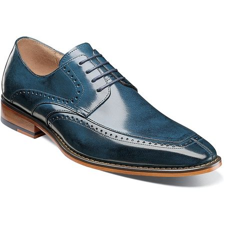 Stacy Adams Dress Shoes Blue Leather Split Toe 25240-435