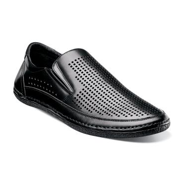 Stacy Adams Northshore Black Perforated Slip On Shoes 24863-001 IS Size 8.5