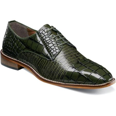 Stacy Adams Shoes Olive Alligator Print Cap Toe 25321-303 IS