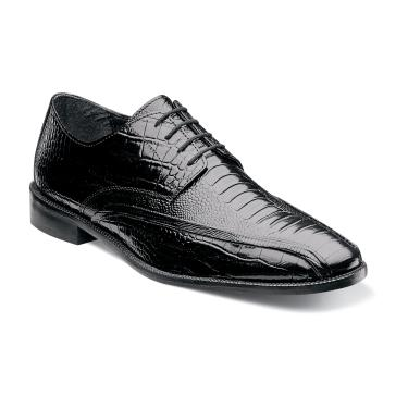 Stacy Adams Shoes Mens Black Alligator Texture Laceup Kaleb 24986-001 IS