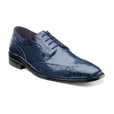Stacy Adams Mens Blue Alligator Print Wingtip Shoes Galletti 24936-400 IS