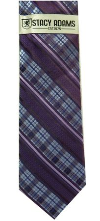 Stacy Adams Purple Stripe Woven Neck Tie and Hanky Set