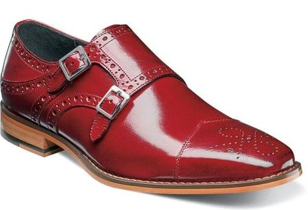 Stacy Adams Red Double Monk Strap Shoes 25194-600 - click to enlarge