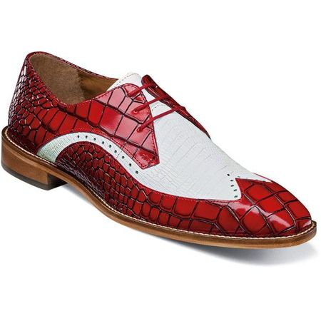 Stacy Adams Red White Alligator Print Wingtip Spring 25271-120