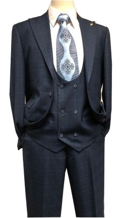 Falcone Men's Blue Plaid 3 Piece Suit Scoop Vest 9152-702 IS