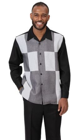 Montique Mens Casual Outfit Black Block Pattern 2pc 2008 Size L,XL