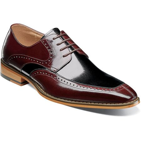 Stacy Adams Dress Shoes Burgundy Black Leather Split Toe 25240-641