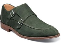 Stacy Adams Green Suede Double Monk Strap Shoes 25225-301