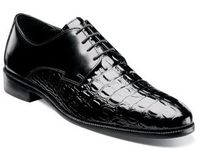 Stacy Adams Mens Black Gator Print Shoes Florio 24935-001 IS