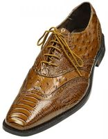 Stacy Adams Shoes Armento Ostrich Print Mustard Wingtip 24777-701 IS
