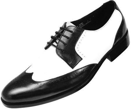 Steven Land Black White Leather Wingtip Shoes SL7184 IS