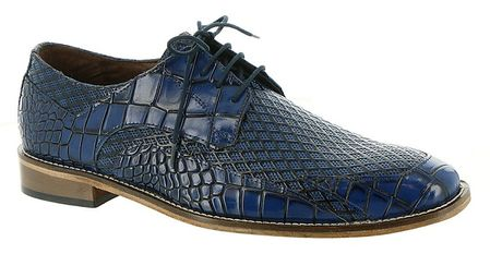 Stacy Adams Shoes Blue Alligator Texture Bike Toe Giansanti 25272-400