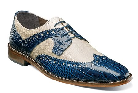 Stacy Adams Shoes Blue Tan Crocodile Texture Wingtip 25167-460