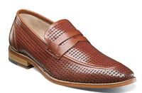 Stacy Adams Shoes Mens Cognac Tan Perforated Leather Penny 25165-221