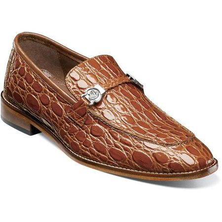 Stacy Adams Mens Cognac Crocodile Belly Loafer 25322-221 IS