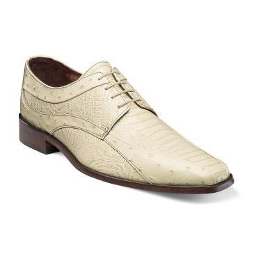 Stacy Adams Shoes Fiorenza Ivory Ostrich Print Lace up 24790-101 IS