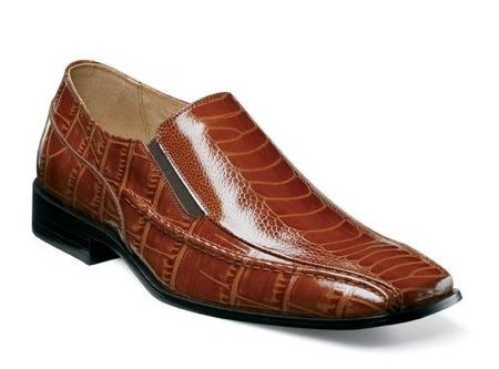 Stacy Adams Shoes Cognac Ostrich Print Loafer 24599-221 Final Sale - click to enlarge