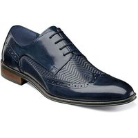 Stacy Adams Shoes Mens Blue Leather Woven Wingtip 25238-410