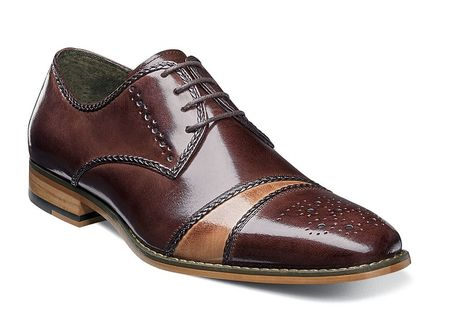 Stacy Adams Shoes Men's Brown Tan Cap Toe Unique Talbot 25125-249 - click to enlarge