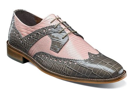 Stacy Adams Shoes Men's Gray Pink Gator Wingtip 25167-062 - click to enlarge