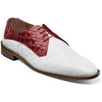 Stacy Adams White Red Leather Mens Shoes Ostrich Print 25273-221