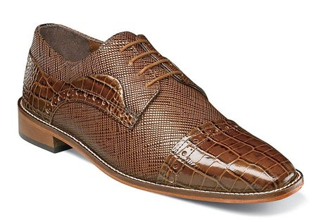 Stacy Adams Shoes Men's Mustard Brown Alligator Cap Toe 25168-701 - click to enlarge