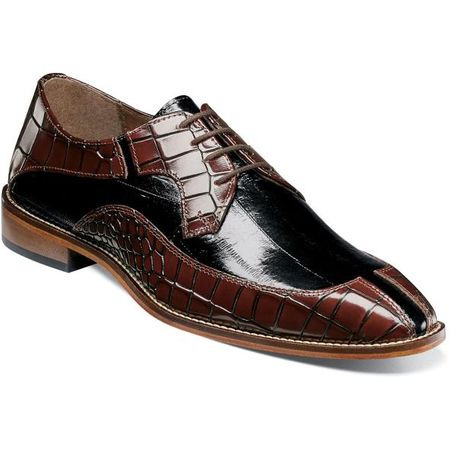 Stacy Adams Dress Shoes Burgundy Black Alligator Split Toe 25318-641 IS