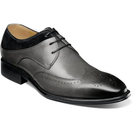 Stacy Adams Men's Shoes Gray Black Leather Wingtip 25314-975 IS