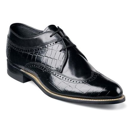 Stacy Adams Shoes Mens Black Crocodile Print Wingtips Dayton 00610-01 IS - click to enlarge