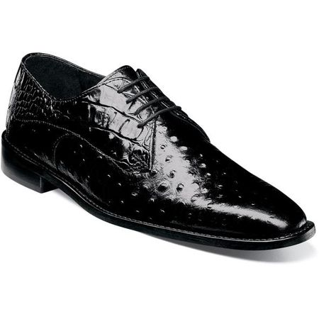 Stacy Adams Black Leather Mens Shoes Ostrich Print 25273-001