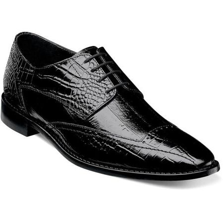 Stacy Adams Shoes Black Leather Mens Gator Print 25366-001 IS