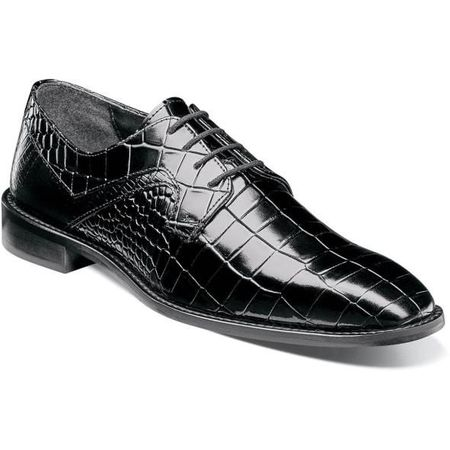 Stacy Adams Shoes Mens Black Alligator Texture Plain Toe 25211-001