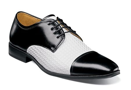 Stacy Adams Shoes Mens Black White Stylish Texture Cap Toe 25180-111 - click to enlarge