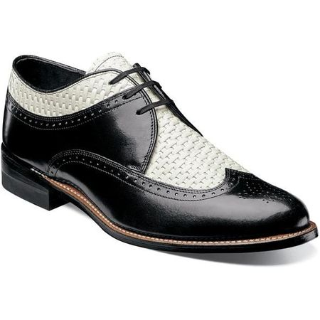 Stacy Adams Shoes Mens Black White Wingtip Texture Dayton 00624-111 IS - click to enlarge