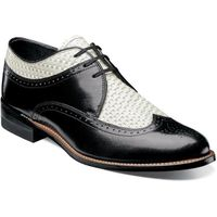 Stacy Adams Shoes Mens Black White Wingtip Texture Dayton 00624-111 IS
