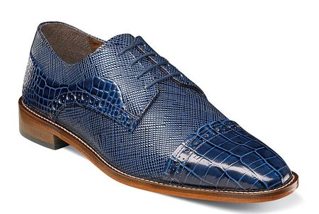 Stacy Adams Shoes Mens Blue Alligator Cap Toe 25168-400 - click to enlarge