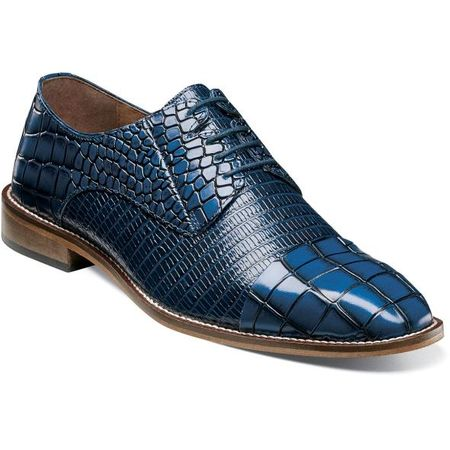 Stacy Adams Shoes Mens Blue Alligator Cap Toe 25321-400