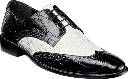 Stacy Adams Black White Wingtip Shoes 25085-111 Size 13 Final Sale