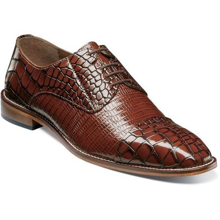 Stacy Adams Cognac Men's Shoes Gator Cap Toe 25321-221 IS