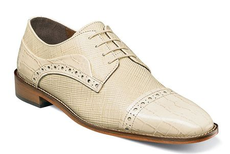 Stacy Adams Shoes Mens Ivory Cream Alligator Cap Toe 25168-101 - click to enlarge