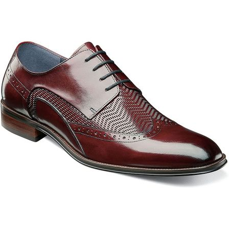 Stacy Adams Shoes Mens Burgundy Leather Woven Wingtip 25238-601