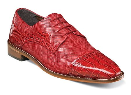 Stacy Adams Red Shoes Mens Alligator Cap Toe 25168-600 - click to enlarge
