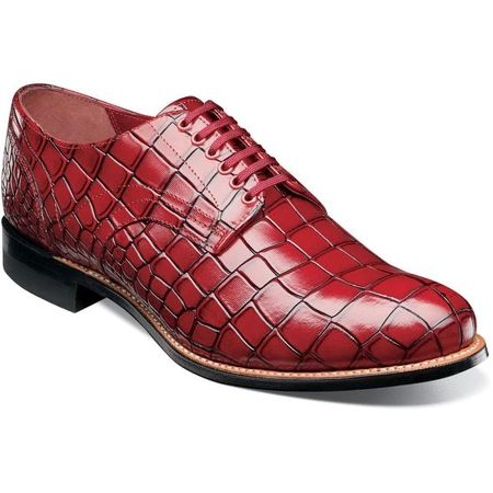 Stacy Adams Madison Shoes Red Crocodile Texture Leather 00104-600