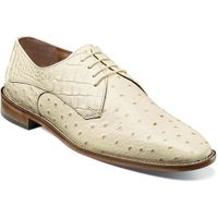 Stacy Adams Ivory Leather Mens Shoes Ostrich Print 25273-101