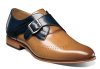 Stacy Adams Shoes New Tan Blue Leather Monk Strap 25178-238